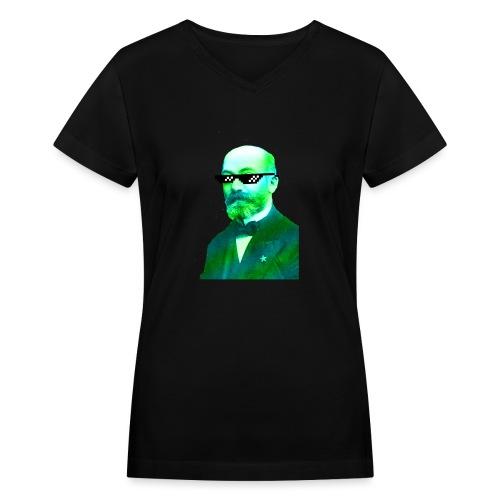 Green and Blue Zamenhof - Women's V-Neck T-Shirt