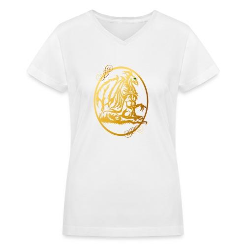 Gold Dragon Oval Design - Women's V-Neck T-Shirt
