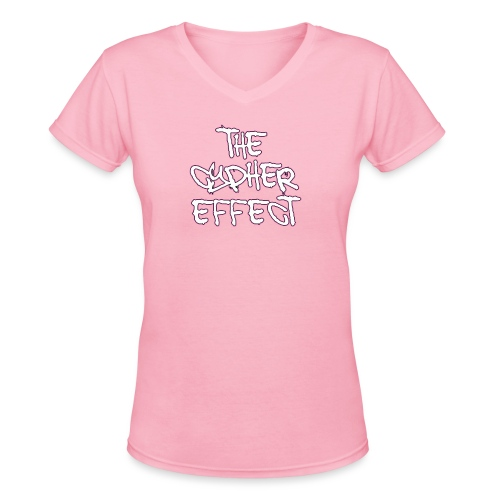 pink outline tce2 png - Women's V-Neck T-Shirt