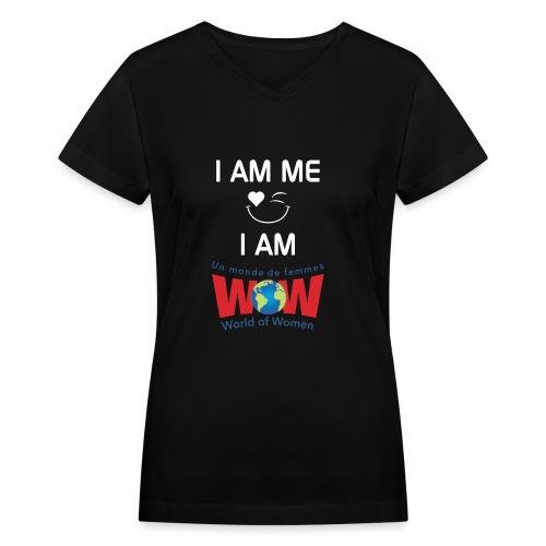 IamMeIamWowLogoWhiteBigge - Women's V-Neck T-Shirt