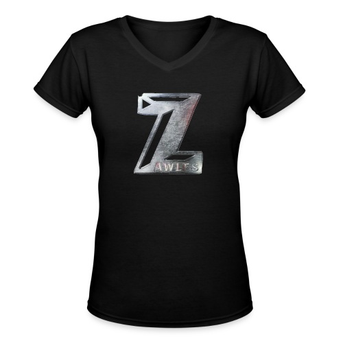 Zawles - metal logo - Women's V-Neck T-Shirt