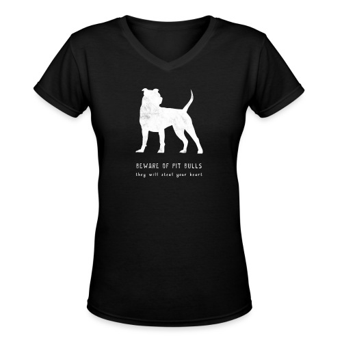 pitbull steal white png - Women's V-Neck T-Shirt