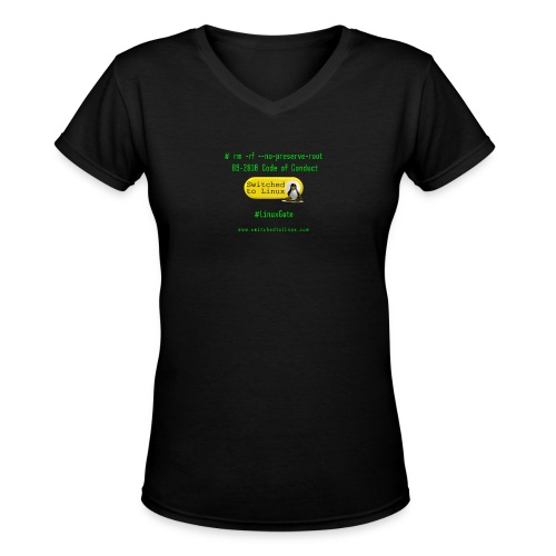 rm Linux Code of Conduct - Women's V-Neck T-Shirt