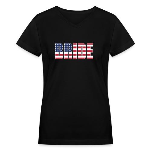 Bride Us Flag - Women's V-Neck T-Shirt