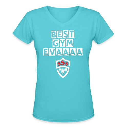 Best Gym Evaaa White and Red - Women's V-Neck T-Shirt