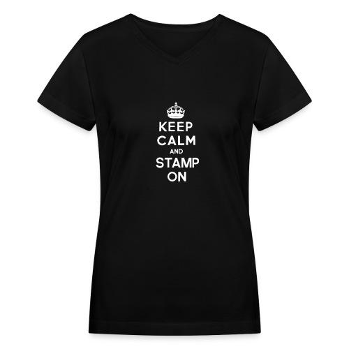 keepcalmandstampon g - Women's V-Neck T-Shirt
