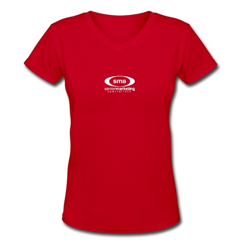 SMS White Logo - Women's V-Neck T-Shirt