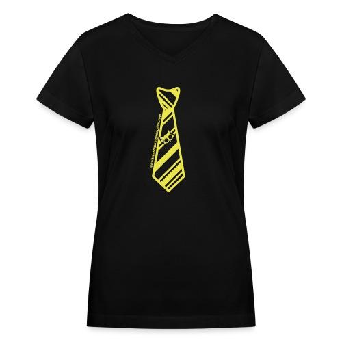 silver-tie-tshirt-01 - Women's V-Neck T-Shirt