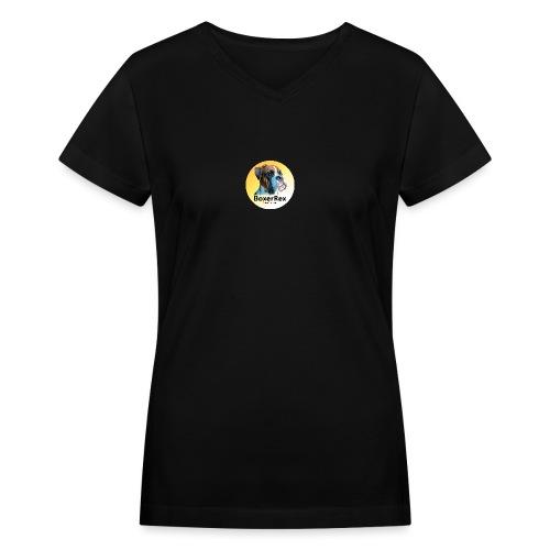 Boxer Rex logo - Women's V-Neck T-Shirt