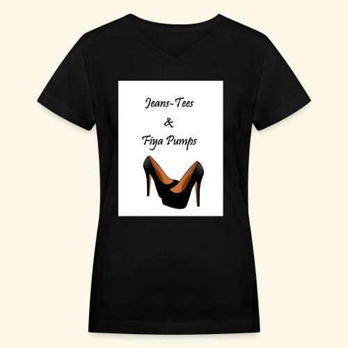 Jeans - Women's V-Neck T-Shirt