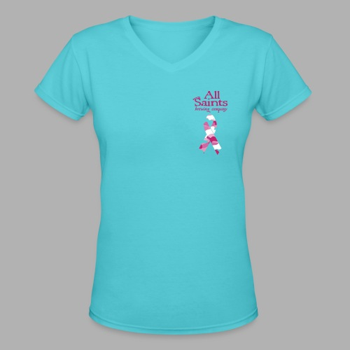 Real Men Wear Pink - Cancer Awarness - Women's V-Neck T-Shirt