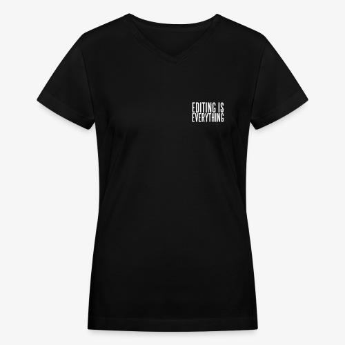 Editing Is Everything Pocket Logo - Women's V-Neck T-Shirt