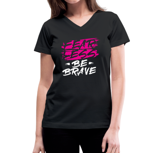 Fearless Pink Tees and Accessories - Women's V-Neck T-Shirt