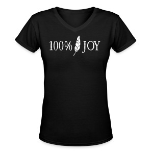 Black T Shirt with White 100% Joy Logo - Women's V-Neck T-Shirt