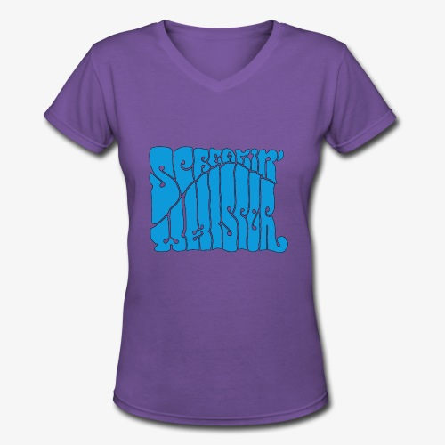 Screamin' Whisper Retro Logo - Women's V-Neck T-Shirt