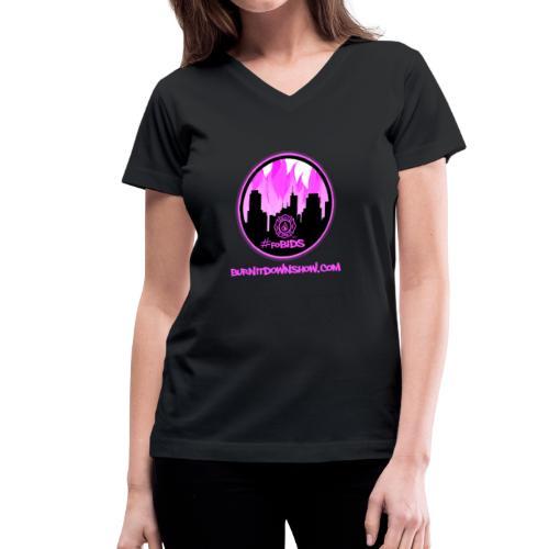 pink logo bid - Women's V-Neck T-Shirt