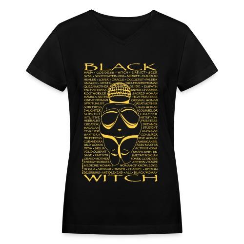 Black Witch Willa 1-yellow print - Women's V-Neck T-Shirt