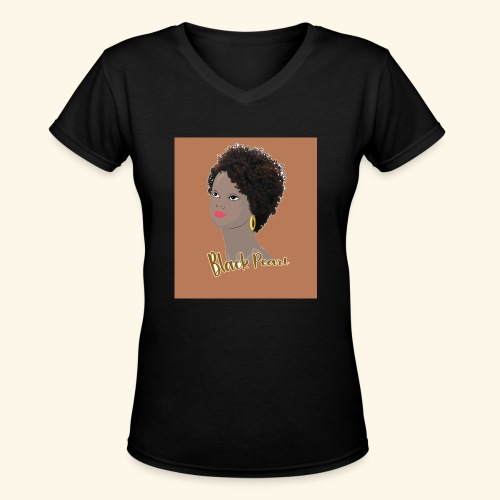 Kinky Curly Black Pearl Natural Hair - Women's V-Neck T-Shirt