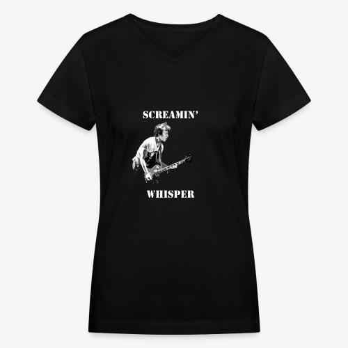 Screamin' Whisper Filth Design - Women's V-Neck T-Shirt