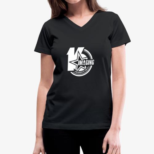 16 Badge White - Women's V-Neck T-Shirt