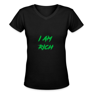 I AM RICH (WASTE YOUR MONEY) - Women's V-Neck T-Shirt