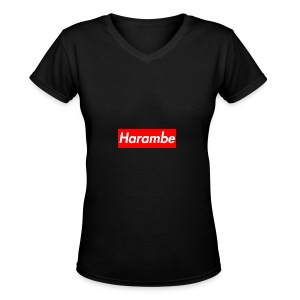 Harambe x Supreme Box Logo - Women's V-Neck T-Shirt