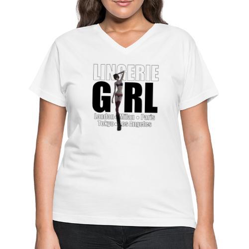 The Fashionable Woman - Lingerie Girl - Women's V-Neck T-Shirt