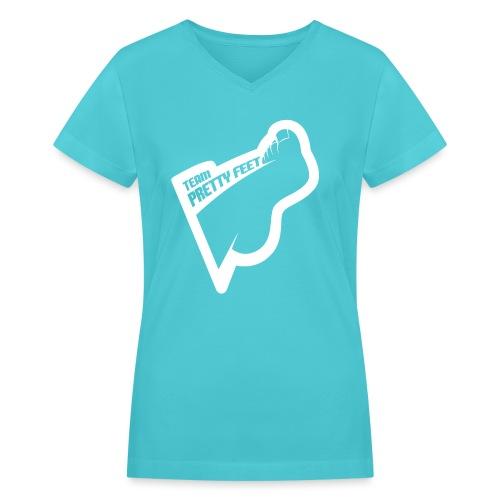 TEAM PRETTY FEET White Foot Logo - Women's V-Neck T-Shirt