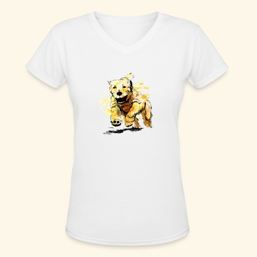 oil dog - Women's V-Neck T-Shirt