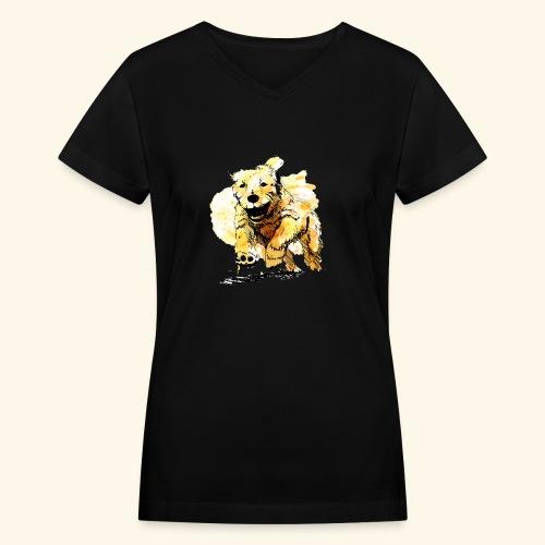 oil dog - Women's V-Neck T-Shirt