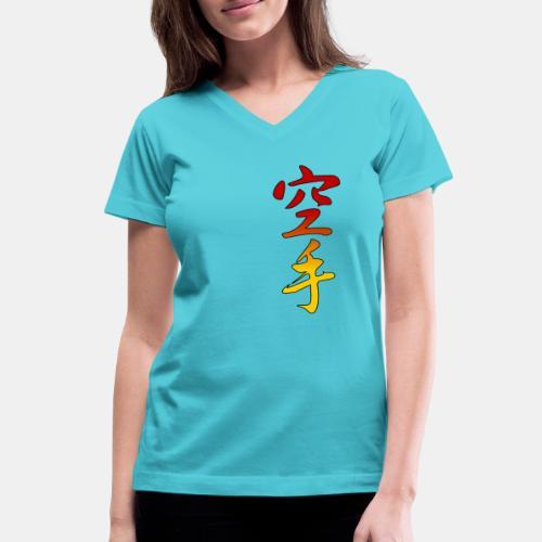 Karate Kanji Red Yellow Gradient - Women's V-Neck T-Shirt