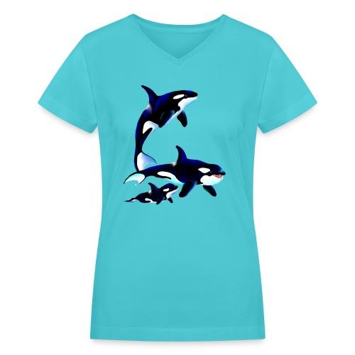 Killer Whale Family - Women's V-Neck T-Shirt