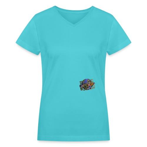 Flagworld Pixel Logo 3000pxwide - Women's V-Neck T-Shirt