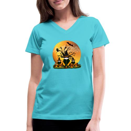 Happy Halloween with 3 masked cats - Women's V-Neck T-Shirt