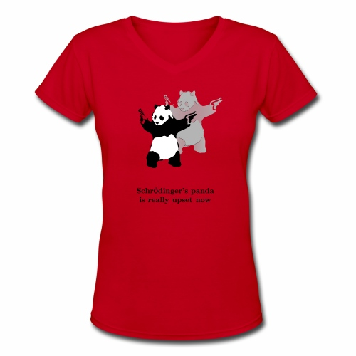 Schrödinger's panda is really upset now - Women's V-Neck T-Shirt