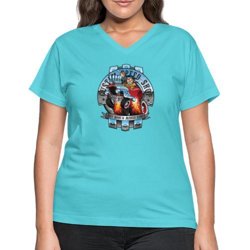 Custom Speed Shop Hot Rods and Muscle Cars Illustr - Women's V-Neck T-Shirt