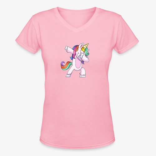DABBING UNICORN Kid - Women's V-Neck T-Shirt