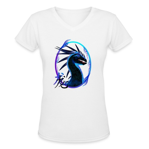 Horned Black Dragon and Symbol - Women's V-Neck T-Shirt