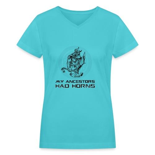 horned helmet tshirt design 2 - Women's V-Neck T-Shirt