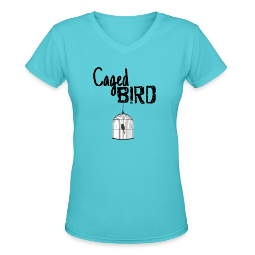Caged Bird Abstract Design - Women's V-Neck T-Shirt