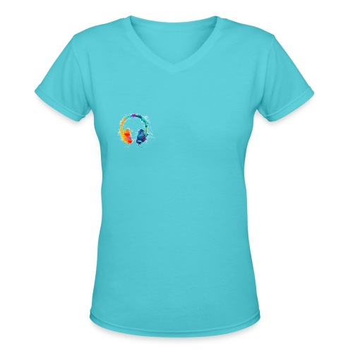 Colourful headset - Women's V-Neck T-Shirt