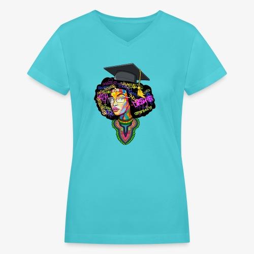 Melanin Women Afro Education - Women's V-Neck T-Shirt