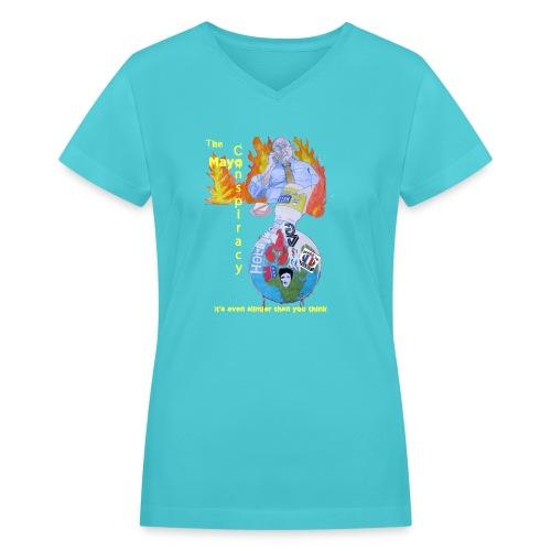 Mayo-Conspiracy - Women's V-Neck T-Shirt