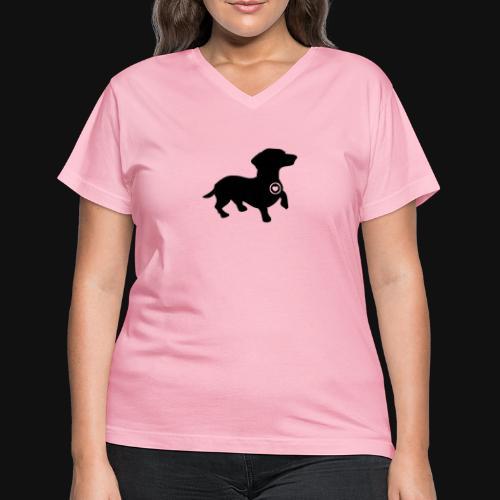 Dachshund love silhouette black - Women's V-Neck T-Shirt