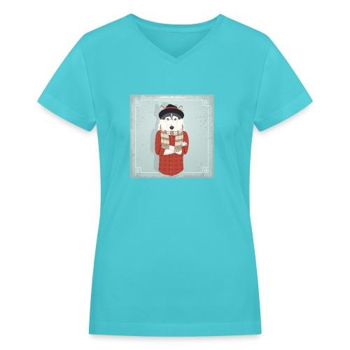 Hispter Dog - Women's V-Neck T-Shirt