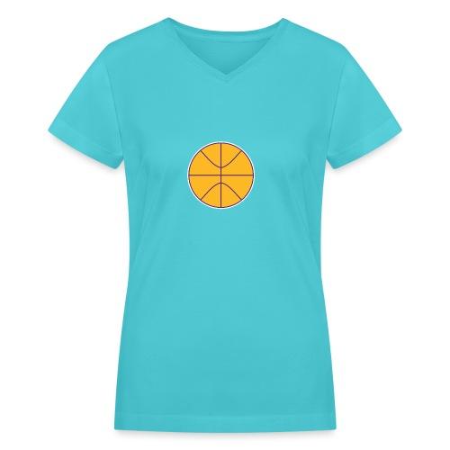 Basketball purple and gold - Women's V-Neck T-Shirt