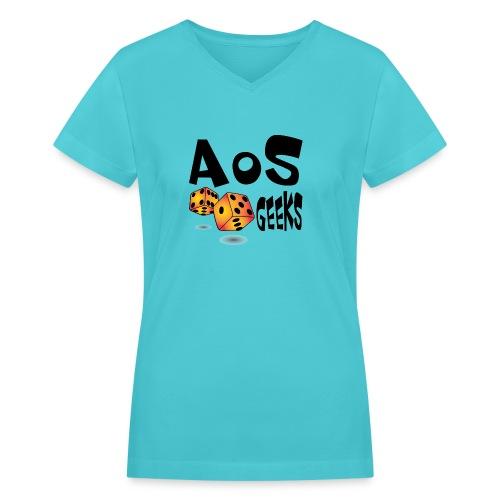 AOS Geeks NOIR - T-shirt avec encolure en V pour femmes