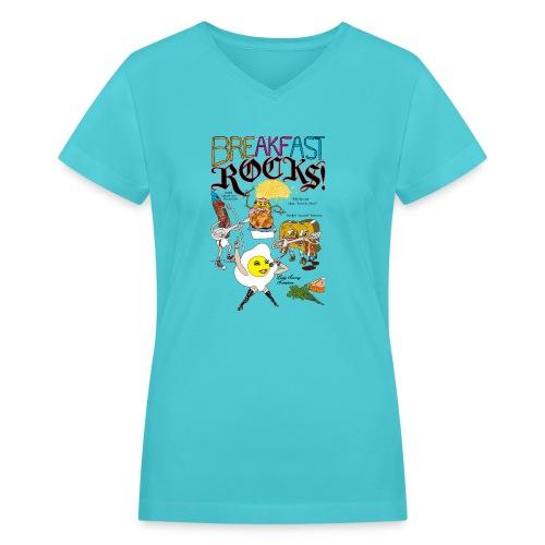Breakfast Rocks! - Women's V-Neck T-Shirt
