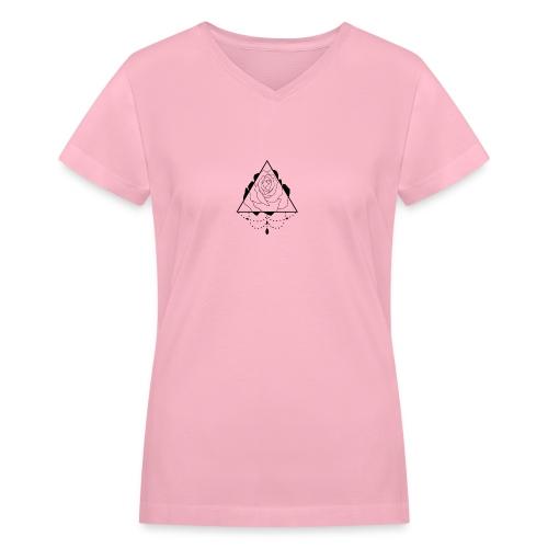 black rose - Women's V-Neck T-Shirt
