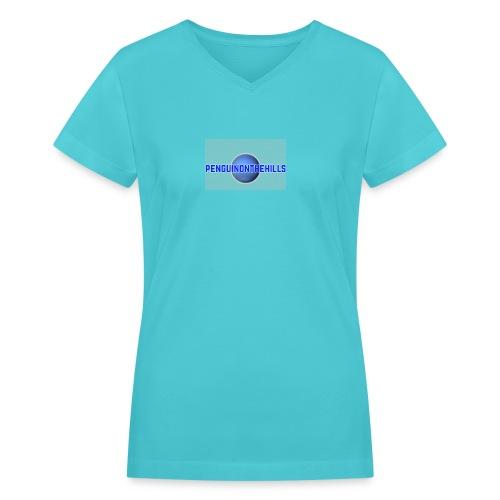 PENGUINONTHEHILLS LOGO - Women's V-Neck T-Shirt